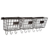 Metal Wall Baskets With Hooks